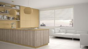 Cucina gialla e di legno moderna con gli scaffali e gabinetti, sofà e finestra panoramica Salone contemporaneo, archit minimalist illustrazione di stock