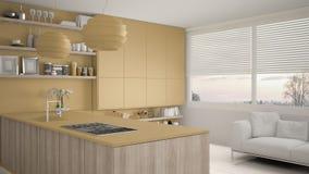 Cucina gialla e di legno moderna con gli scaffali e gabinetti, sofà e finestra panoramica Salone contemporaneo, minimalista royalty illustrazione gratis
