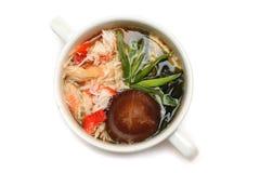 Cucina giapponese - minestra dei frutti di mare Fotografia Stock
