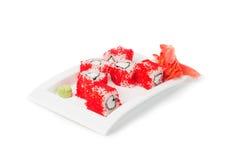 Cucina giapponese servita i sushi Maki fotografia stock