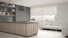 Cucina grigia e di legno moderna con gli scaffali e gabinetti, sofà e finestra panoramica Salone contemporaneo, architec minimali illustrazione vettoriale