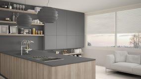 Cucina grigia e di legno moderna con gli scaffali e gabinetti, sofà e finestra panoramica Salone contemporaneo, minimalista royalty illustrazione gratis