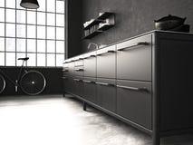 Cucina interna e bella rappresentazione 3d Immagini Stock Libere da Diritti