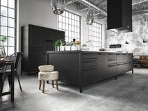 Cucina interna e bella rappresentazione 3d Fotografia Stock