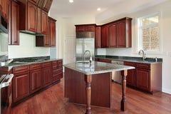 Cucina in legno della ciliegia Fotografia Stock