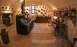 Cucina medioevale al castello di Chenonceau in Francia Fotografie Stock