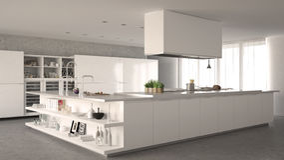 Cucina minimalistic bianca fotografie stock