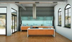 Cucina moderna arancio in un sottotetto con una bella progettazione Immagine Stock Libera da Diritti