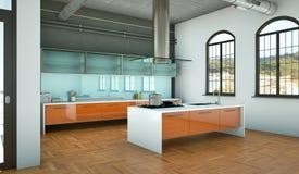 Cucina moderna arancio in un sottotetto con una bella progettazione Fotografia Stock Libera da Diritti