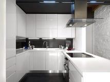 Cucina moderna bianca con gli apparecchi d'acciaio Immagine Stock