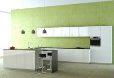 Cucina moderna bianca con la carta da parati verde Immagini Stock Libere da Diritti