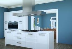 Cucina moderna bianca in un piano con bella progettazione Fotografie Stock