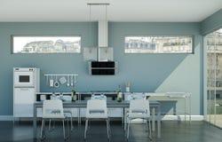 Cucina moderna bianca in un sottotetto con una bella progettazione Immagine Stock