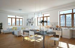 Cucina moderna bianca in una casa con una bella progettazione Fotografia Stock