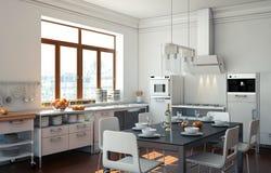 Cucina moderna bianca in una casa con una bella progettazione Fotografie Stock Libere da Diritti