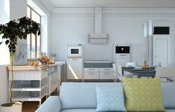 Cucina moderna bianca in una casa con una bella progettazione Immagine Stock