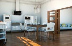 Cucina moderna bianca in una casa con una bella progettazione Fotografia Stock Libera da Diritti