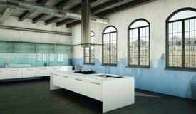 Cucina moderna bianca in una casa con una bella progettazione Fotografie Stock
