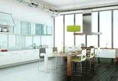 Cucina moderna bianca in una casa con il muro di cemento Fotografia Stock