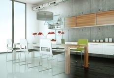 Cucina moderna bianca in una casa con il muro di cemento Immagini Stock Libere da Diritti