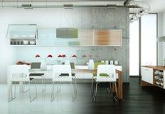 Cucina moderna bianca in una casa con il muro di cemento Fotografie Stock Libere da Diritti
