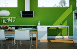 Cucina moderna bianca in una casa con le pareti verdi Fotografie Stock Libere da Diritti