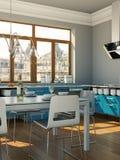 Cucina moderna blu in una casa con una bella progettazione Fotografia Stock
