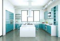 Cucina moderna blu in una casa con una bella progettazione Fotografie Stock