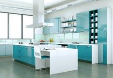 Cucina moderna blu in una casa con una bella progettazione Fotografie Stock Libere da Diritti