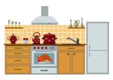 Cucina moderna con mobilia Immagine Stock Libera da Diritti