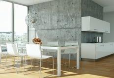 Cucina moderna luminosa in una stanza con il muro di cemento Fotografia Stock