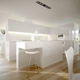Cucina moderna minimalista bianca Immagine Stock Libera da Diritti