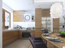 Cucina moderna nello stile contemporaneo della sala da pranzo Fotografie Stock Libere da Diritti