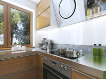 Cucina moderna nello stile contemporaneo della sala da pranzo Fotografia Stock Libera da Diritti