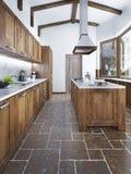 Cucina moderna nello stile del sottotetto Fotografia Stock