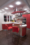Cucina moderna rossa. Fotografia Stock