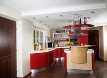 Cucina moderna rossa Immagine Stock Libera da Diritti