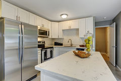 Cucina modernizzata con il tema grigio e bianco Fotografia Stock