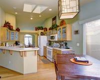 Cucina modernizzata con le pareti ed il pavimento di legno duro verde chiaro Immagini Stock