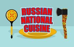 Cucina nazionale russa Piatto con i modelli floreali tradizionali Fotografia Stock Libera da Diritti