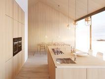Cucina nordica moderna in appartamento del sottotetto rappresentazione 3d illustrazione di stock