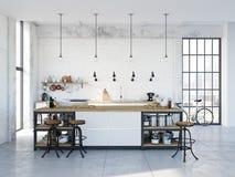 Cucina nordica moderna in appartamento del sottotetto rappresentazione 3d royalty illustrazione gratis