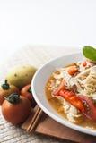 Cucina piccante dell'Indonesia della minestra della tagliatella del pollo fotografie stock libere da diritti