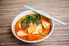 Cucina popolare Laksa Yong Tau Foo di Singapore immagine stock libera da diritti