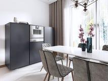Cucina-pranzare stile contemporaneo della stanza in bianco ed in grigio con le grandi finestre e gli apparecchi incorporati nella illustrazione di stock