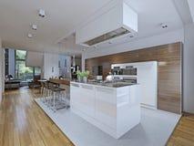 Cucina-pranzare stile moderno della stanza Fotografie Stock