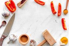 Cucina professionale con le spezie per il cuoco sul modello bianco di vista superiore del fondo Fotografie Stock Libere da Diritti