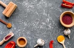 Cucina professionale con le spezie per il cuoco sul modello grigio di vista superiore del fondo Fotografia Stock Libera da Diritti