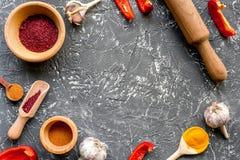 Cucina professionale con le spezie per il cuoco sul modello grigio di vista superiore del fondo Immagini Stock Libere da Diritti