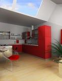 Cucina rossa Fotografie Stock